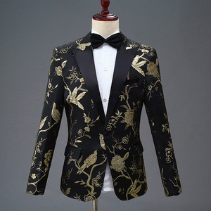 Image 2 - PYJTRL New Design Mens Stylish Embroidery Royal Blue Green Red Floral Pattern Suits Stage Singer Wedding Groom Tuxedo Costume