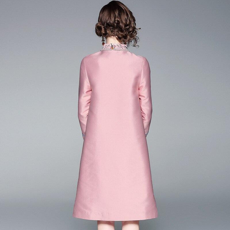 Cheongsam Nouveau Vêtments Long Folk Fit Élégant Manteau Automne Femme Vintage Broderie Style Femmes Floral S Slim Manteaux Pink 2019 2xl zdfwOSqO