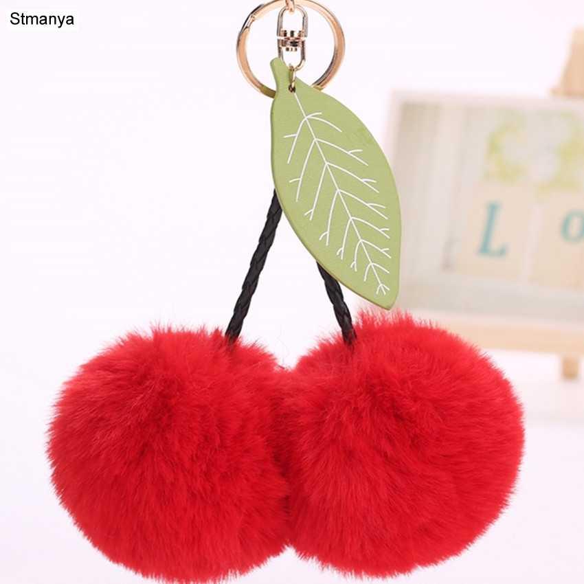 8 centímetros bola da Chave de Cadeia de moda Bolsa feminina Encantos Acessórios faux Fur PomPom cereja Pingentes folha Dom Anel Chave Do Carro jóias K1622