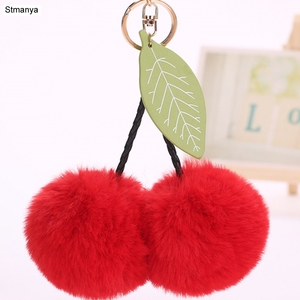Fashion 8cm ball Key Chain female Bag Charms Accessories faux Fur PomPom cherry Pendants leaf Car Key Ring Gift jewelry K1622