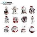 2016 Inverno Nova Esmalte Vermelho Encantos Da Sra. Papai Noel 925 Mulheres de Presente de Natal de Prata Beads Para Fazer Jóias DIY pulseira
