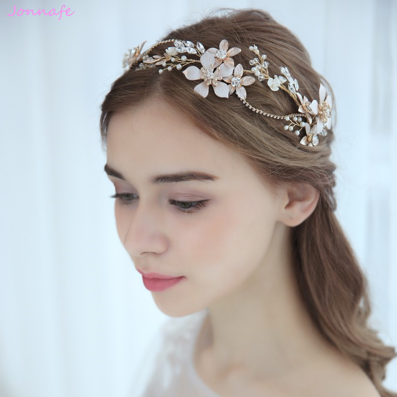 Jonnafe 2018 Gold Flower Hair Vine Wedding Tiara Women Headband Handmade Bridal Hair Piece Accessories Jewelry pure handmade bride wedding hair accessory head piece 2 piece set hanfu costume xiu he fu wedding use hair jewelry page 5