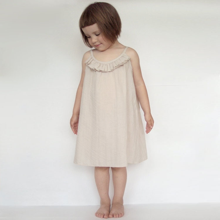 2017 new summer child dress good quality beautiful girls dress child clothing for kids beige/black simply suspender size 90-150