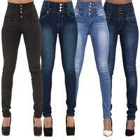 2017 New Arrival Wholesale Woman Denim Pencil Pants Top Brand Stretch Jeans High Waist Pants Women