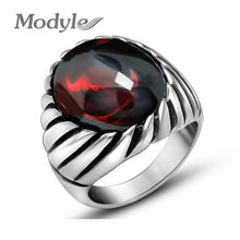 Modyle-Anillo de ópalo negro y ópalo rojo para hombre, banda gruesa de titanio antiguo, acero inoxidable, accesorios de estilo gótico Vintage para hombre