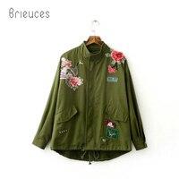 Brieuces Simplee Unlined zipper basic jacket coat women jacket 2017 autumn winter applique oversized casual outwear coats
