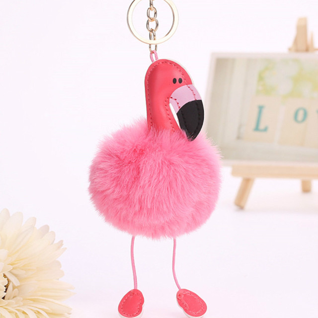 Flamingo bonito Dos Desenhos Animados Chaveiro Pompom Fofo Falso da Pele do Coelho Bola Anel Chave Keychain Pom Pom Mulheres Saco Chave Do Carro titular de Jóias