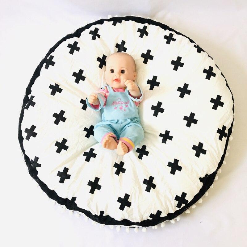Монохромная Крестовая подушка для пола для младенец и малыш/Детские шапочки/детский игровой коврик - Цвет: Слоновая кость