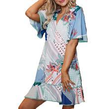 цена Yfashion 2019 Women Casual Dress Floral birds leafs print Spring Summer Print Dresses Party Vestidos Ladies Elegant Dress Female онлайн в 2017 году