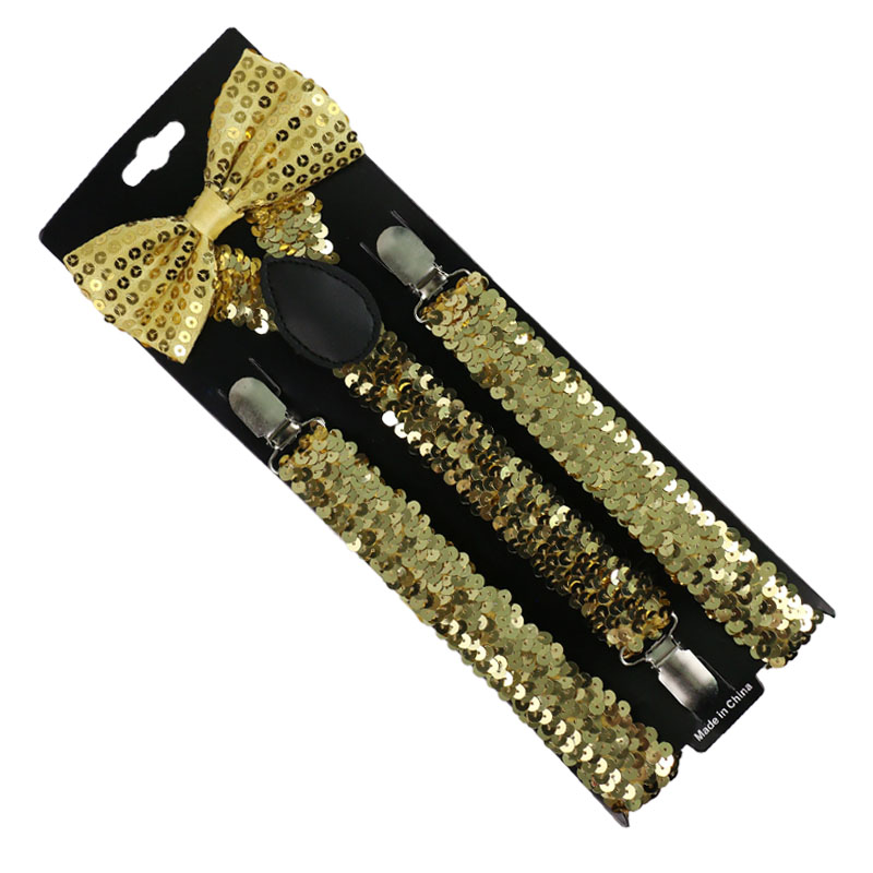 Fashion Women Men Small Sequin Gold Silver Suspenders Bowtie Set Clip-on Elastic Y-Shape Back Braces Suspenders For Women Men