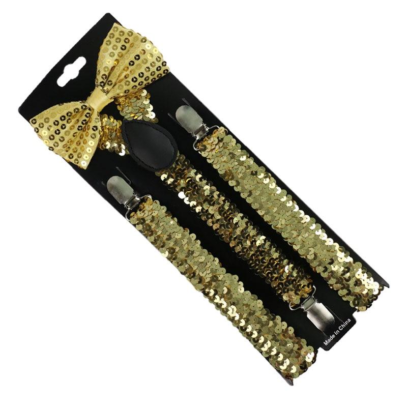 Fashion Women Men Small Sequin Gold Silver Suspenders Bowtie Set Clip-on Elastic Y-Shape Back Braces Suspenders For Women Men