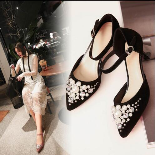 ФОТО  beautiful shoes black and pink color can choose crystal decoration suit to professional banquet  pointed toe  high heels