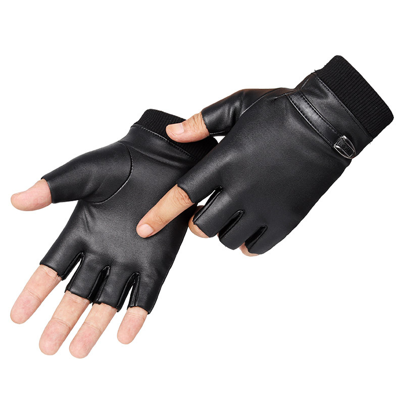 Army Military Tactical Half Finger Cycling Glove Winter Elasticity PU Leather Plus Plush Warm Men Sport Fitness Driving Glove C5