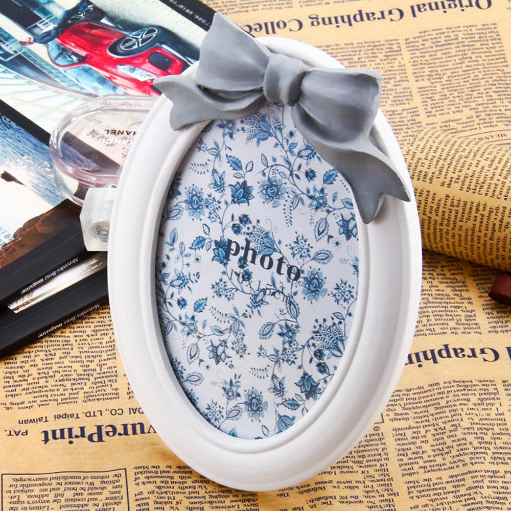High Quality Material <font><b>Home</b></font> Decoration Luxury Oval Wood Resin <font><b>Decor</b></font> Photo Frame With <font><b>Elegant</b></font> and beautiful bowknot design