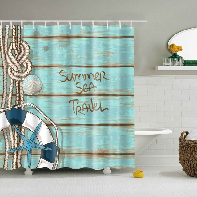 Blue Sky Beach Shower Curtains Bathroom Curtain Waterproof Fabric High Quality