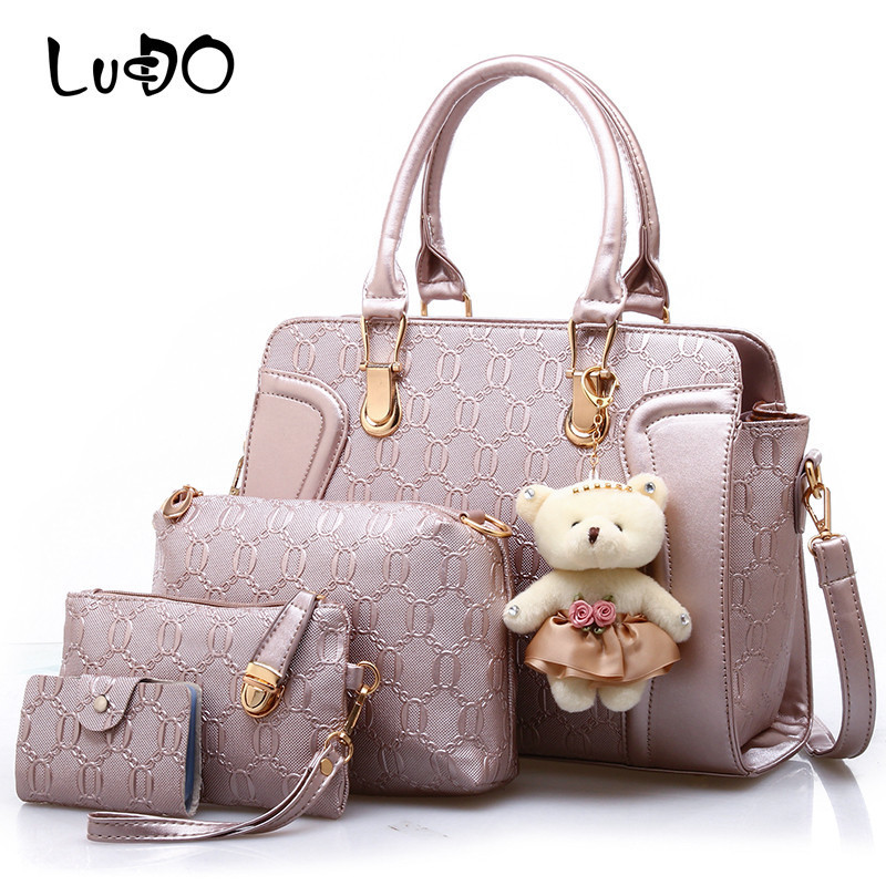 LUCDO Brand New 4 Pcs Women Handbag Sets Fashion 2018 Lady Composite Bags Shoulder Messenger Bag Wallet Pu Leather Day Clutches цена
