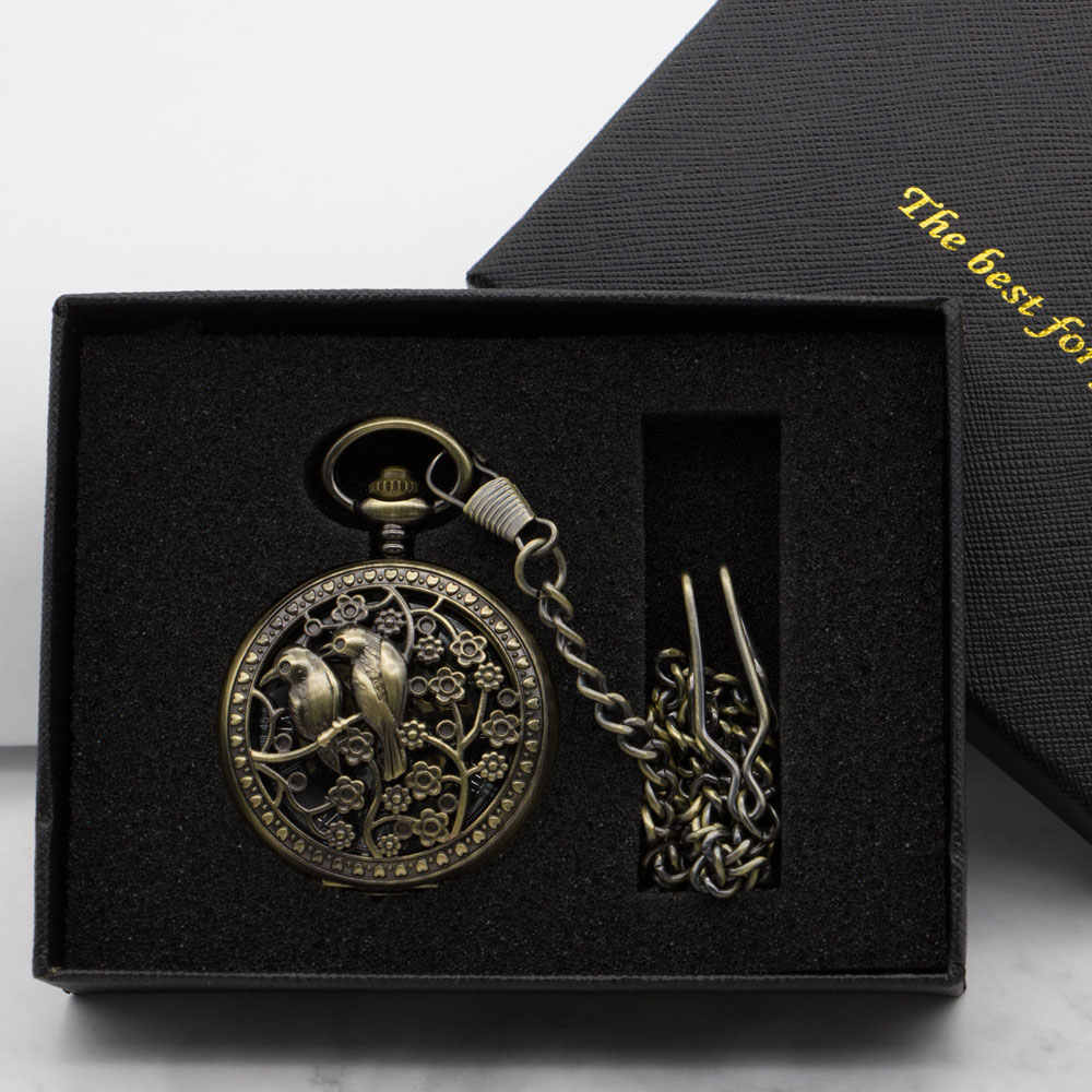 Drop Shipping Unisex Vintage Bronze Black Analog Display Pocket Watch Mechanical Hollow Carving Bird Fob Watch Gift With Box