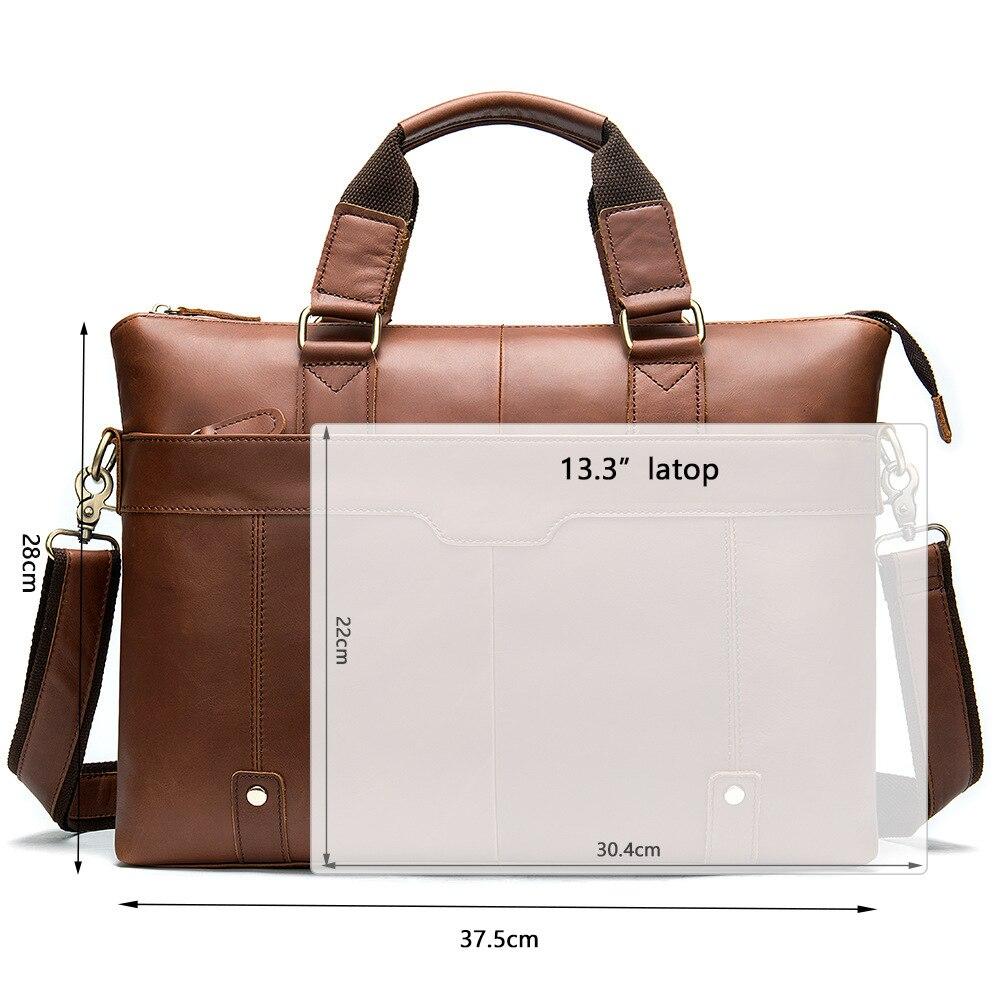 MVA Messenger Bag hommes sacs à bandoulière en cuir pochette d'ordinateur 14 pouces en cuir véritable hommes sacs pour Document travail sacs à main fourre-tout 7108 - 5
