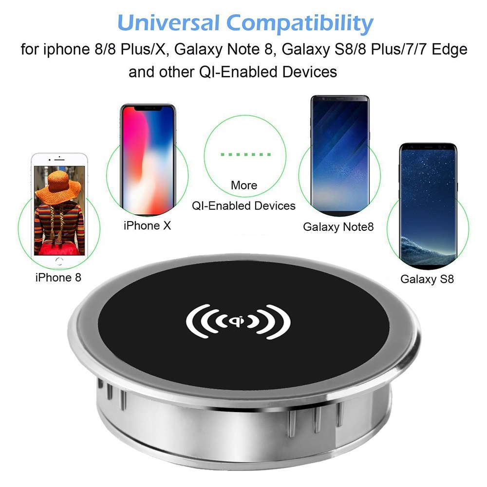 5W 10W 15W Built-in Desktop Qi Wireless Charger Device For iPhone Charging Plate Portable Power Charger Mat Mobile Power Charger 5