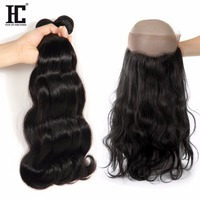 HC 360 Lace Frontal Closure With Baby Hair Peruvian Body Wave Human Hair 3 Bundles With
