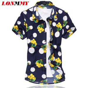 LONMMY Flower shirt men Silk cotton Camisa Fashion 2018 Summer Mens floral shirts Short sleeve Mens dress shirts High quality