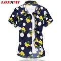 LONMMY Цветок рубашка мужчины Шелк хлопок Camisa Мода 2016 Лето Мужская цветочные рубашки С Коротким рукавом Мужские рубашки платья Высокого качества