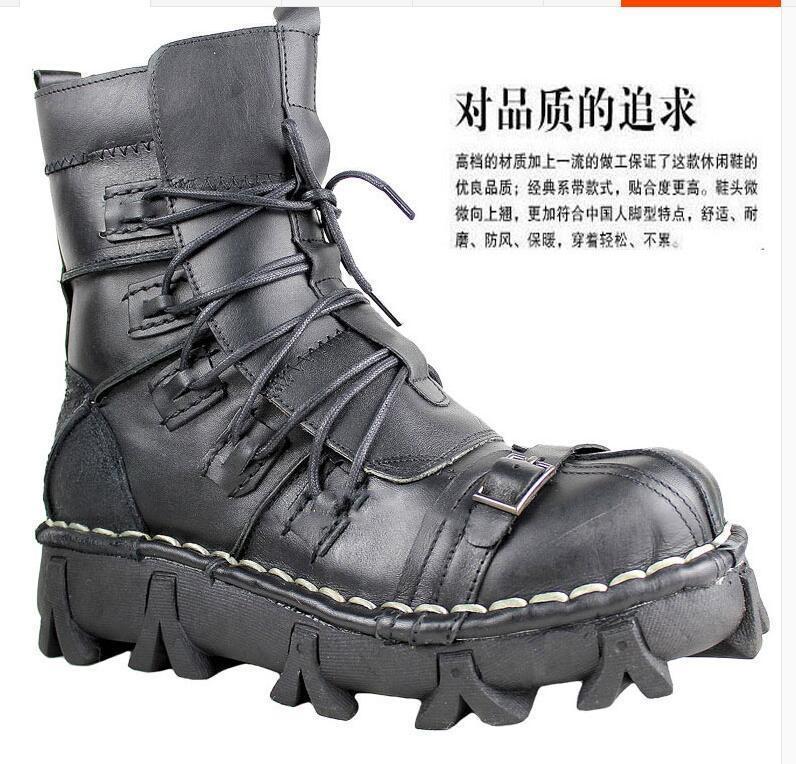 Ankle Casuais Up Genuíno B151 Militar Boots De Couro Mens Calçados Crânio Lace Combate nPHTwxg