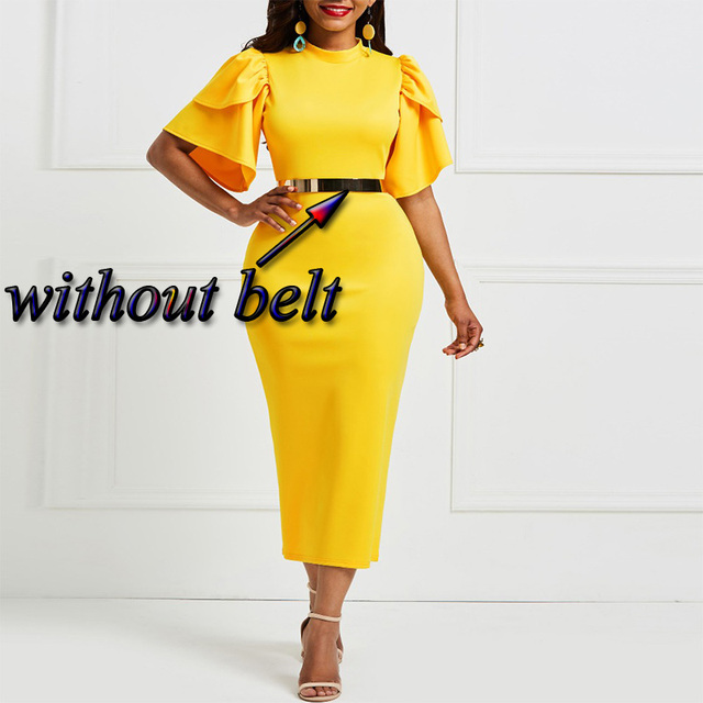 Kinikiss 2018 women office dress ladies yellow dress working girl ruffle zipper plus size evening summer bodycon midi dress  1