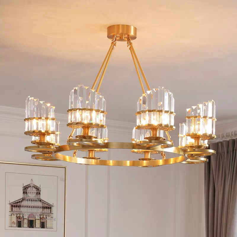 Lamp Glass Copper Luxury LED Light Chandelier In the Living Room Bedroom Dining Room Lights Chandelier Lighting Chandeliers