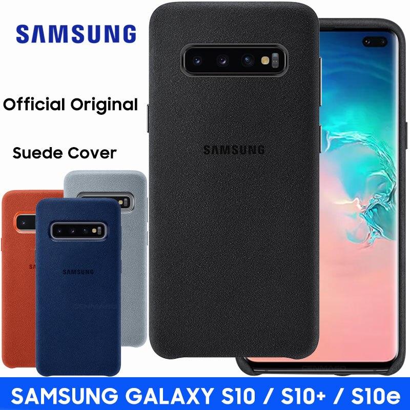 Samsung S10 Caso Oficial Original Genuine Suede Leather Protector Caso de Volta Samsung Galaxy S10 Plus Galaxy S10e Capa Capa
