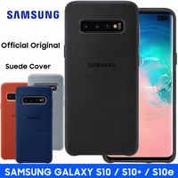 Samsung S10 Cassa Gazzetta Originale Vera Pelle Scamosciata In Pelle di Protezione Posteriore di Caso di Samsung Galaxy S10 S9 Più S10e Nota 9 10 più Copertura Della Cassa