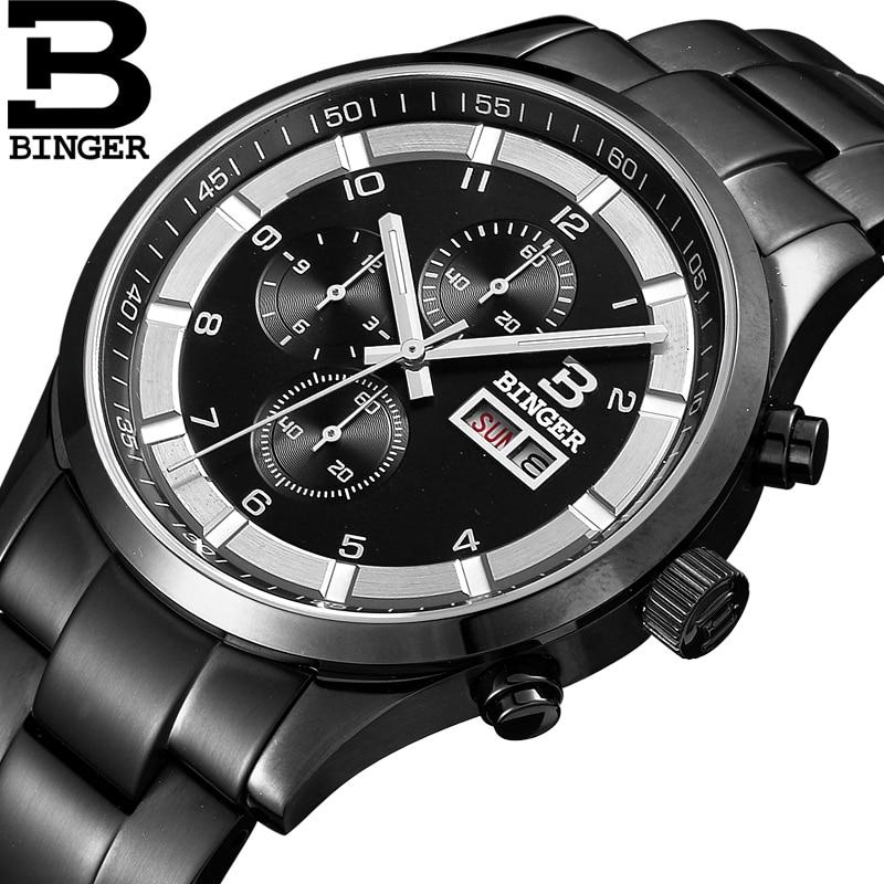 스위스 남자 시계 럭셔리 브랜드 손목 시계 binger 석영 정품 가죽 스트랩 사파이어 미러 방수 시계 BG 0403 4-에서수정 시계부터 시계 의  그룹 1