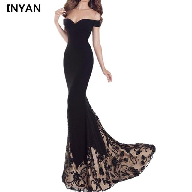 Elegante Schulterfrei Sexy Trägerlosen Schwarz boot ausschnitt Kleid ...