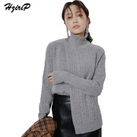 HziriP 2017 Winter Autumn Solid Casual Sweater Women Loose Outwear Ladies Long Sleeve Knitted Tops Turtleneck
