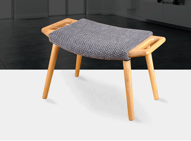 chair stool small covers large wooden ottoman with cushion seat living room furniture portable modern solid oak wood foot bench