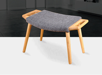 Wooden Stool Ottoman With Cushion Seat Living Room Furniture Portable Modern Small Solid Oak Wood Foot Stool Bench Chair