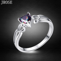 JROSE Wholesale Love Heart Jewelry Rainbow Topaz 18K White Gold Plated Ring Size 6 7 8 9 10 Women Engagement Fashion Christmas