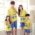 2016 семейные комплект матери отца сын соответствия летом короткий характер комплекты мама дети Pijama одежда комплект