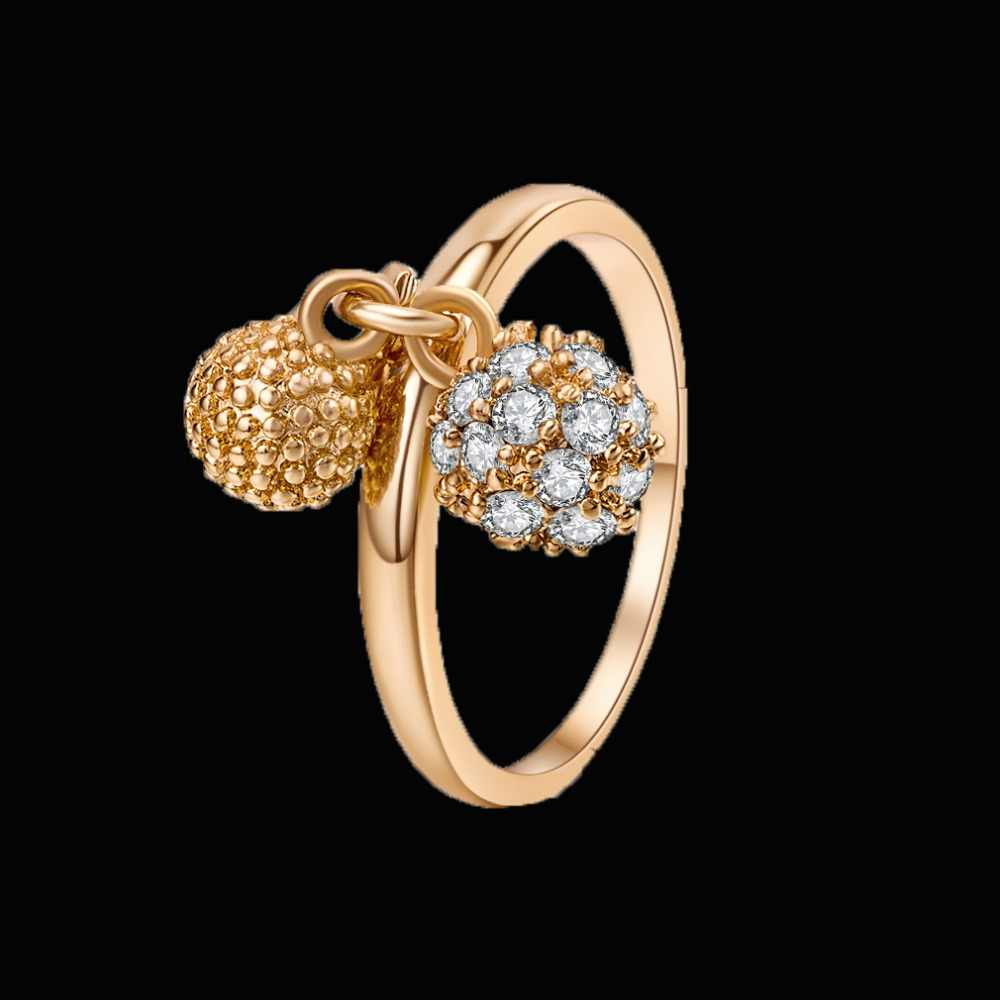 Luxury gold Engagement Rings For Women Cubic Zirconia ring For Bridal Wedding three pendant Crystals rings Hot Sell Wholesale