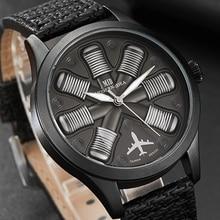 Mężczyźni oglądać silnik samolotu grawerowane męska duża tarcza męskie zegarki na rękę Flieger Pilot zegarek sportowy Reloj Aviator mężczyzna zegar