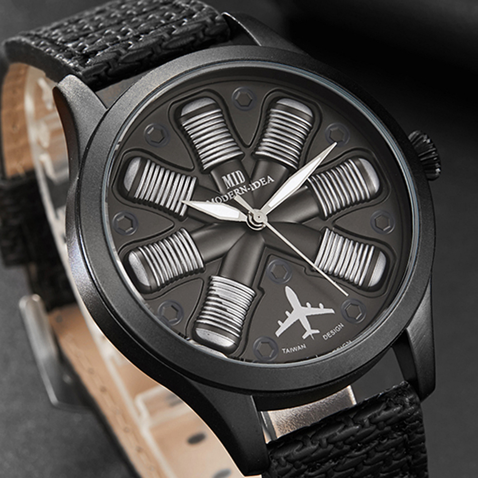 Men Watch Airplane Engine Engraved Men's Big Dial Male Wrist Watches Flieger Pilot Sports Wristwatch Reloj Aviator Mens Clock image
