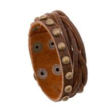 High Quality Jewelry Vintage Leather Bracelets Fashion Brown Punk Cuff Bracelets & Bangles for Women Men Jewelry Accessory FS036