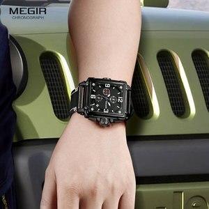 Image 4 - Megir relógio de pulso masculino esportivo, cronógrafo, relógio de pulso para homens, couro do exército, quadrado, quartzo, cronógrafo, relógio masculino 2061 preto preto
