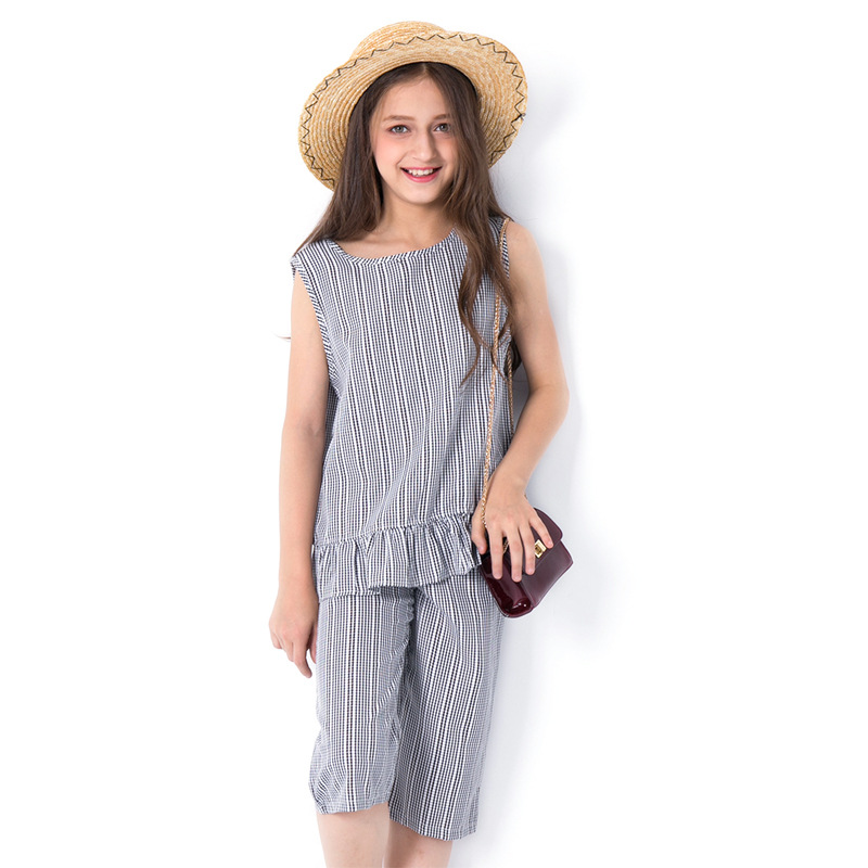 Fashion Young Girl Clothing Sets Summer 2018 New Vertical Striped Vest Wide Leg Pants Set for Big Teenage Girls Size 8 10 12 14 vertical striped pants