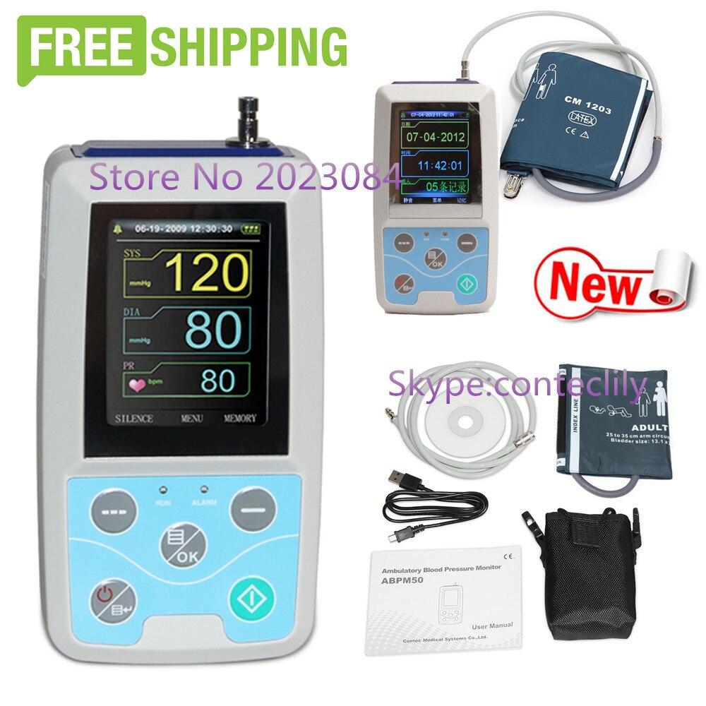 ABPM50 24 horas Ambulatorial Da Pressão Arterial Monitor Holter ABPM BP com software de Holter contec