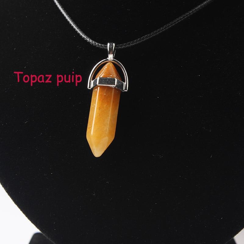 LanLi, шестиугольная колонна, ожерелье с натуральным кристаллом, подвеска с камнем, кожаные цепи, ожерелье для женщин, модное ювелирное изделие