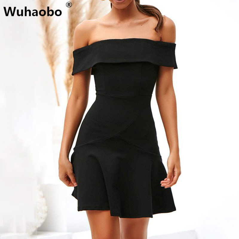 Wuhaobo <font><b>Sexy</b></font> Party <font><b>Dress</b></font> <font><b>Slash</b></font> Neck <font><b>A</b></font> <font><b>Line</b></font> Off Shoulder Stretchy High Waist Ruffle Black Yellow Red Mini Summer <font><b>Dress</b></font> Women image