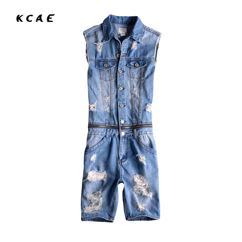 2017 New Men's No Sleeve Denim Overalls Casual Shorts Jeans Jumpsuits For Men With Holes Short Denim Size S-XXL