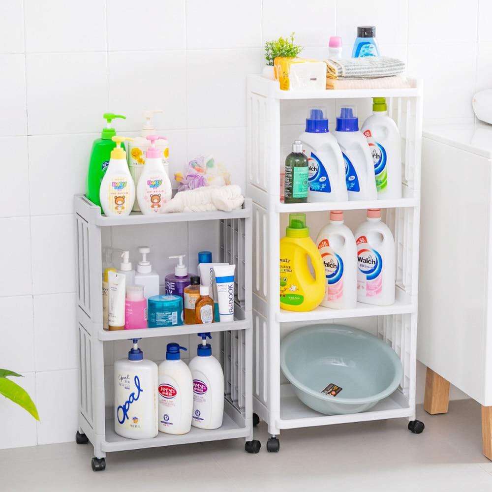 Multilayer plastic bathroom storage rack toilet floor storage rack floor toilet corner narrow cabinet LM01151922
