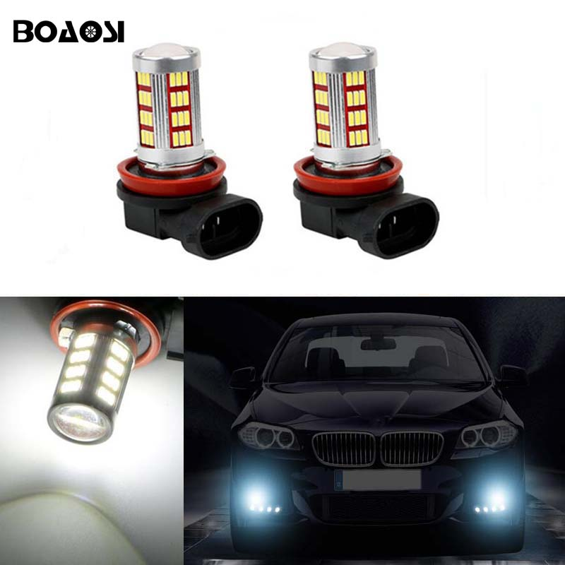 BOAOSI For BMW Mazda Honda Ford mondeo mk3 focus H11 High Power LED Projector Bulb For Car Driving Fog Light 2pcs